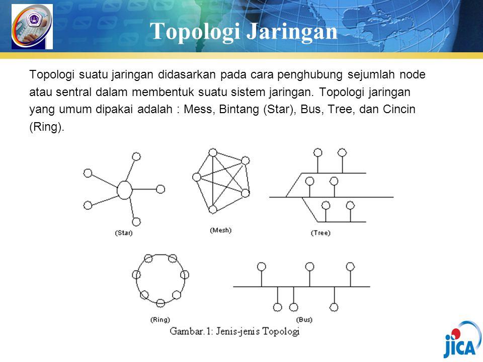 Topologi Jaringan Topologi suatu jaringan didasarkan pada cara penghubung sejumlah node.