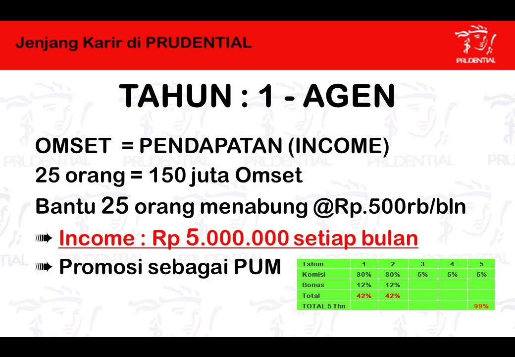 TAHUN : 1 - AGEN OMSET = PENDAPATAN (INCOME) 25 orang = 150 juta Omset