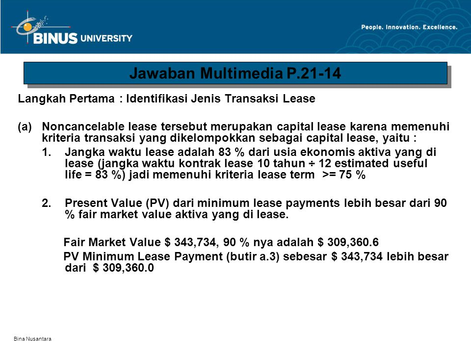 Jawaban Multimedia P.21-14 Langkah Pertama : Identifikasi Jenis Transaksi Lease.