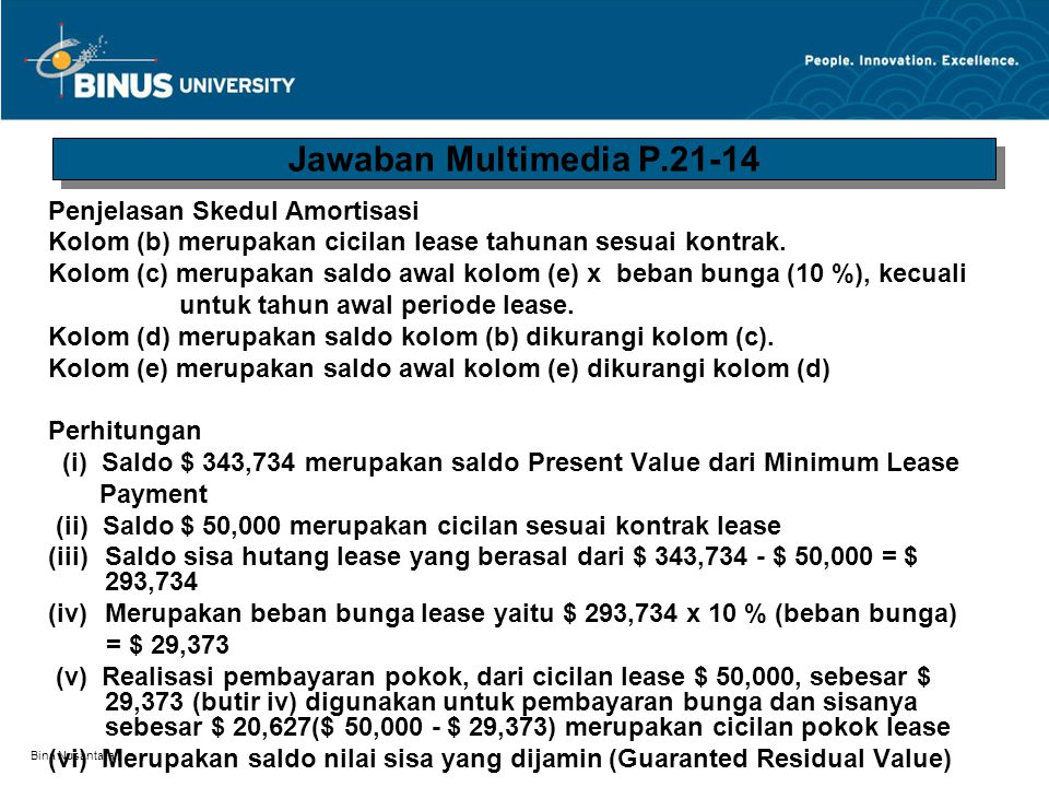 Jawaban Multimedia P.21-14 Penjelasan Skedul Amortisasi