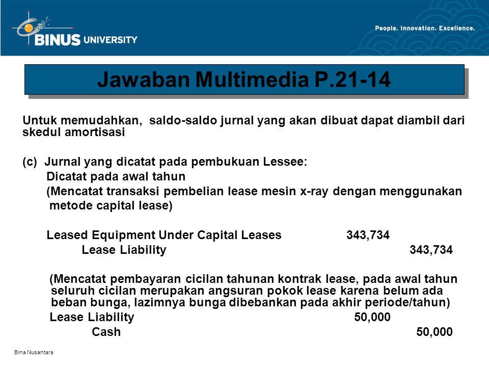 Jawaban Multimedia P.21-14 Untuk memudahkan, saldo-saldo jurnal yang akan dibuat dapat diambil dari skedul amortisasi.