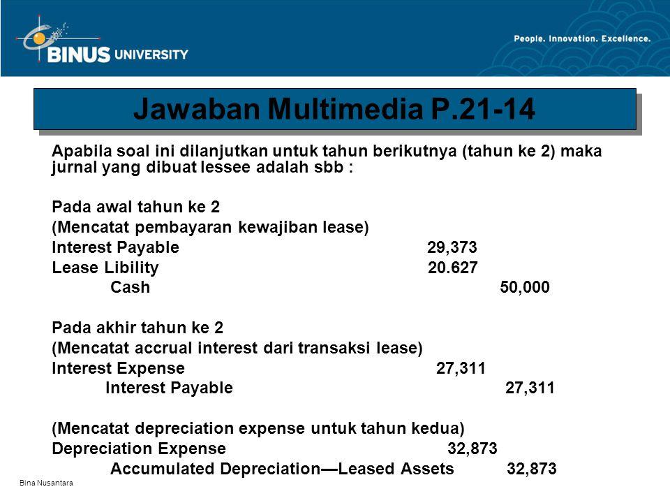 Jawaban Multimedia P.21-14 Apabila soal ini dilanjutkan untuk tahun berikutnya (tahun ke 2) maka jurnal yang dibuat lessee adalah sbb :