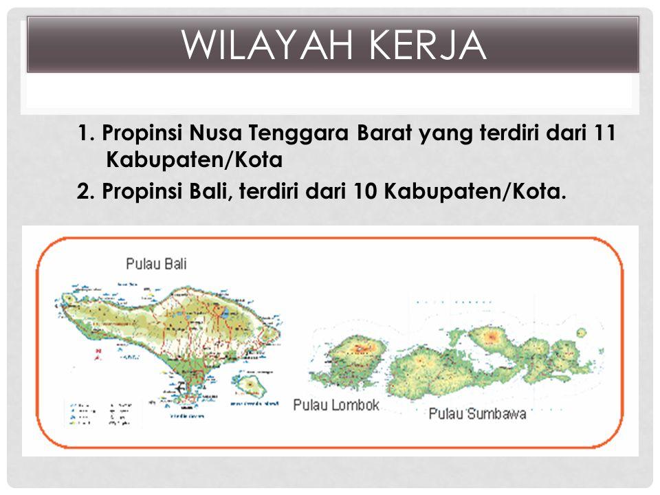 WILAYAH KERJA 1. Propinsi Nusa Tenggara Barat yang terdiri dari 11 Kabupaten/Kota 2.