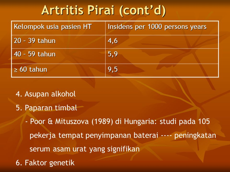Artritis Pirai (cont'd)