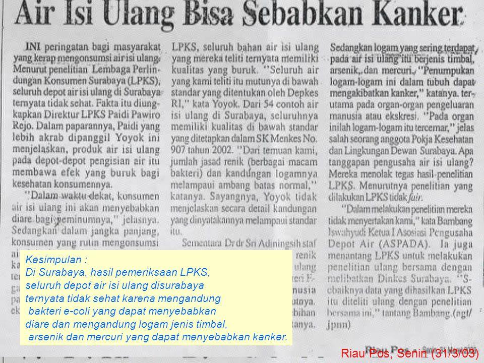 Riau Pos, Senin (31/3/03) Kesimpulan :