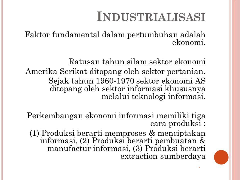 Industrialisasi Faktor fundamental dalam pertumbuhan adalah ekonomi.