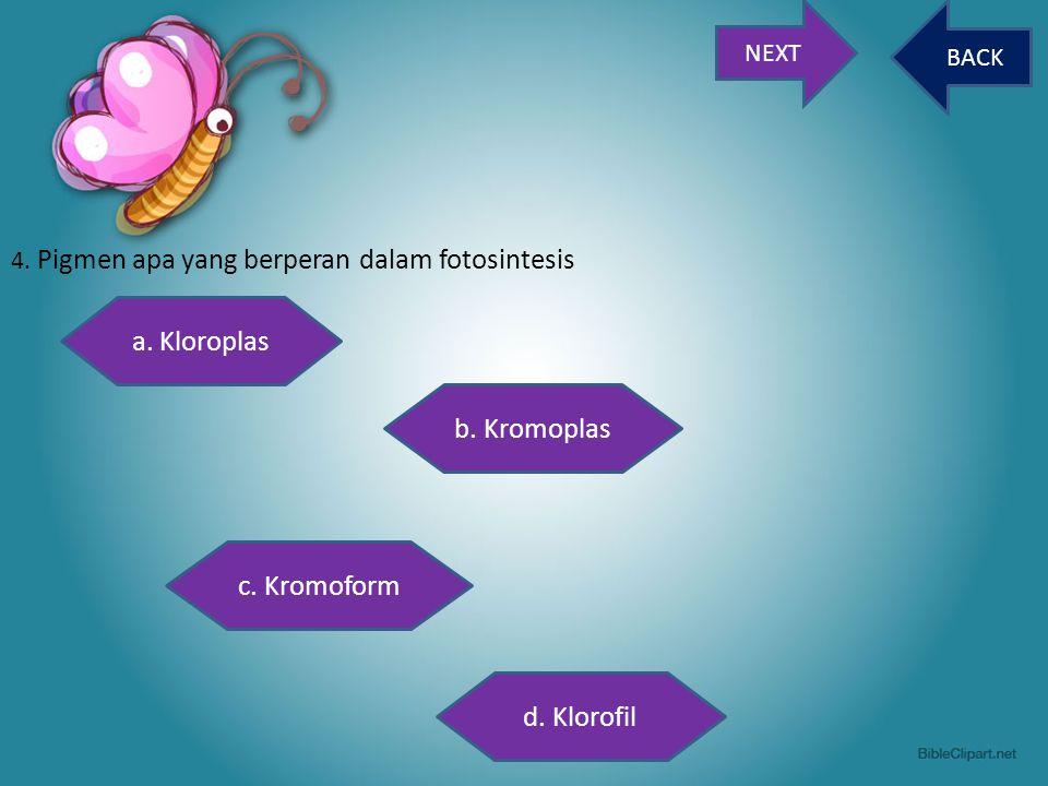 a. Kloroplas b. Kromoplas c. Kromoform d. Klorofil NEXT BACK
