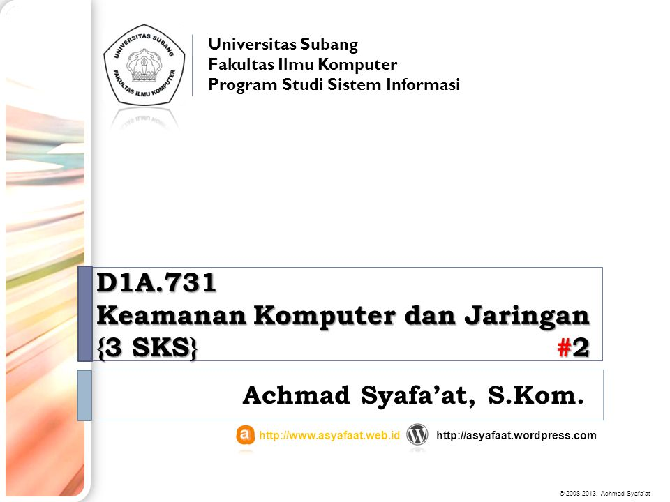 D1A.731 Keamanan Komputer dan Jaringan {3 SKS} #2