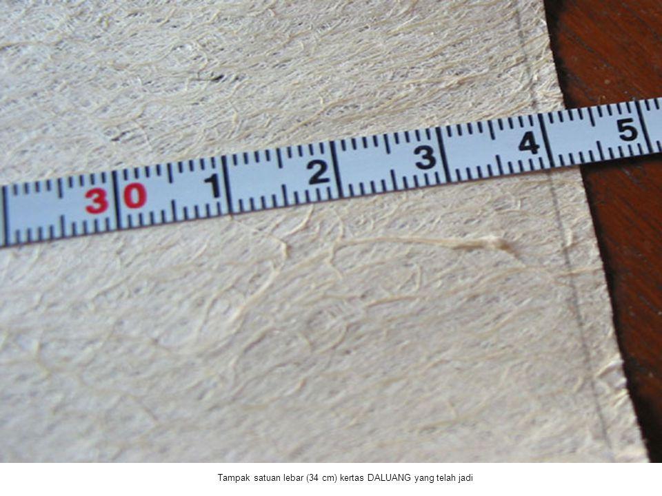 Tampak satuan lebar (34 cm) kertas DALUANG yang telah jadi