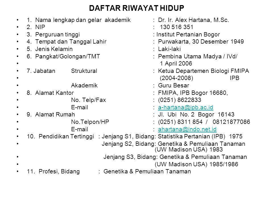 DAFTAR RIWAYAT HIDUP 1. Nama lengkap dan gelar akademik : Dr. Ir. Alex Hartana, M.Sc. 2. NIP : 130 516 351.