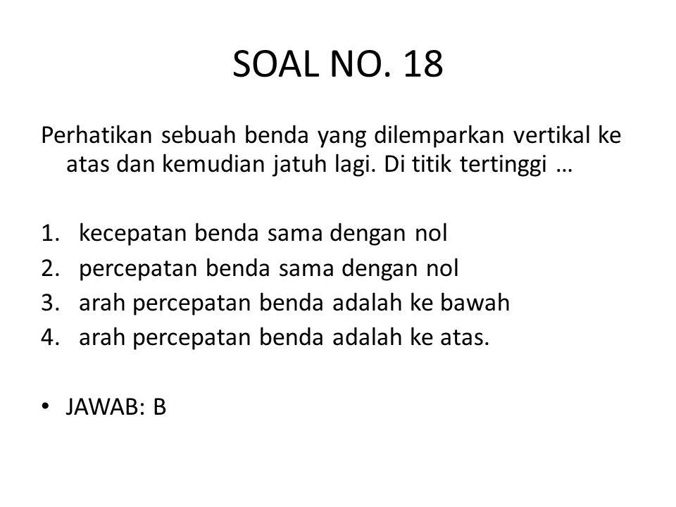 SOAL NO. 18 Perhatikan sebuah benda yang dilemparkan vertikal ke atas dan kemudian jatuh lagi. Di titik tertinggi …