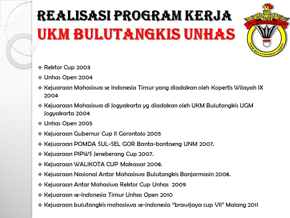 UKM BULUTANGKIS UNHAS REALISASI PROGRAM KERJA Rektor Cup 2003