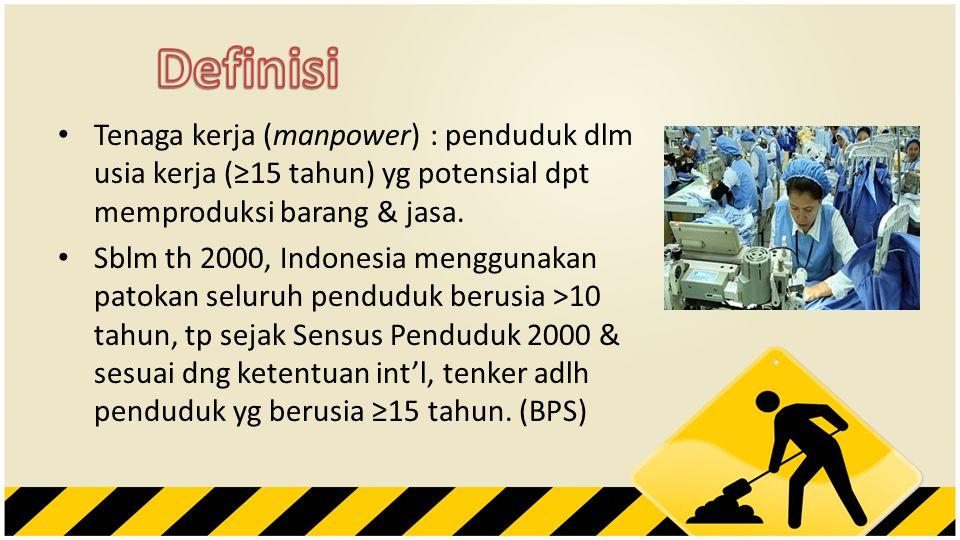 Definisi Tenaga kerja (manpower) : penduduk dlm usia kerja (≥15 tahun) yg potensial dpt memproduksi barang & jasa.