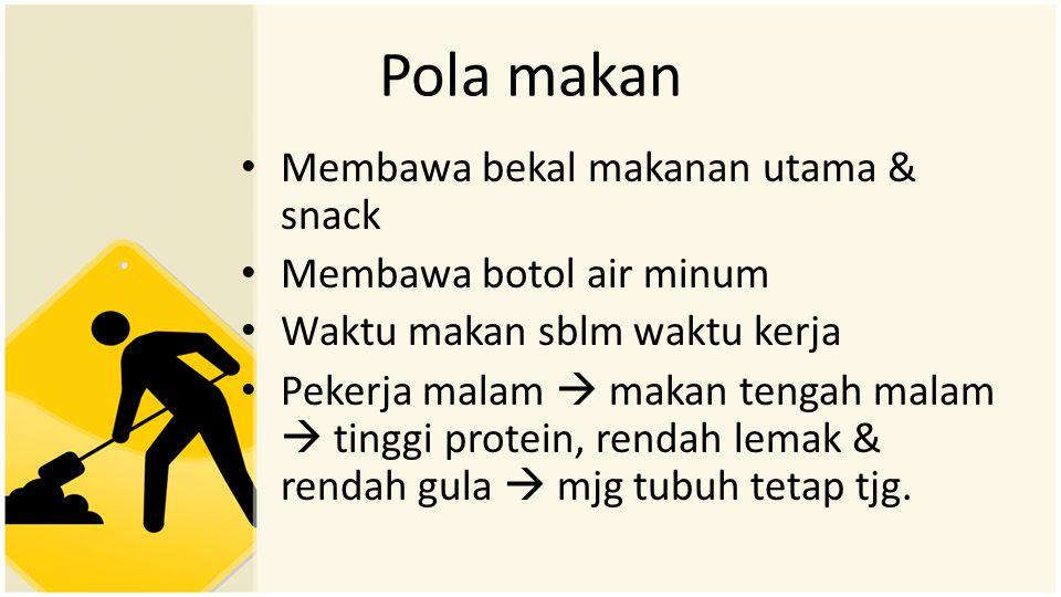 Pola makan Membawa bekal makanan utama & snack Membawa botol air minum