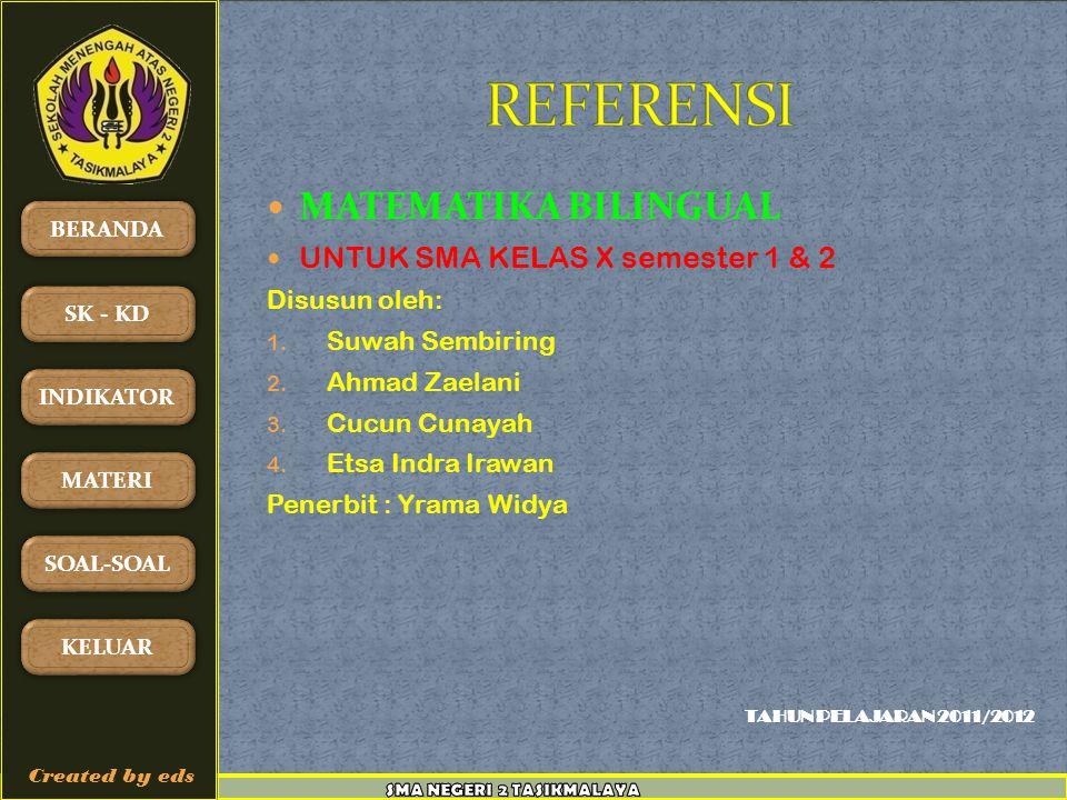 REFERENSI MATEMATIKA BILINGUAL UNTUK SMA KELAS X semester 1 & 2