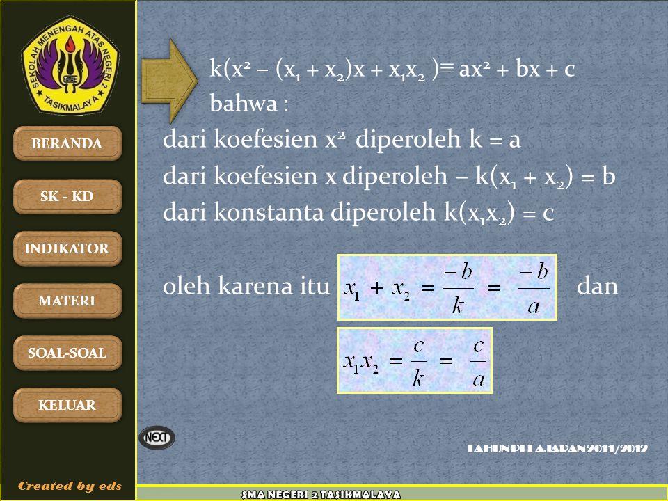 dari koefesien x diperoleh – k(x1 + x2) = b