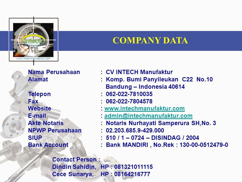 COMPANY DATA Nama Perusahaan : CV INTECH Manufaktur