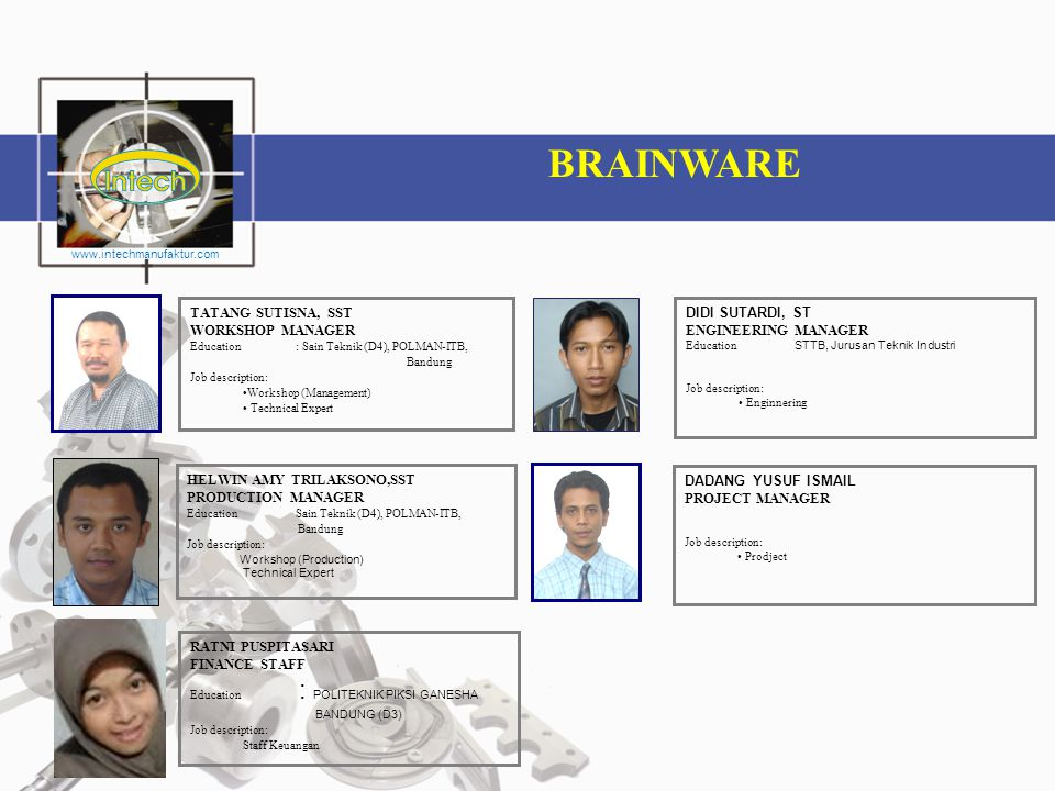 BRAINWARE TATANG SUTISNA, SST WORKSHOP MANAGER DIDI SUTARDI, ST