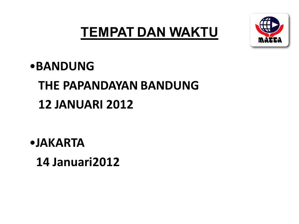 TEMPAT DAN WAKTU •BANDUNG THE PAPANDAYAN BANDUNG 12 JANUARI 2012 •JAKARTA 14 Januari2012