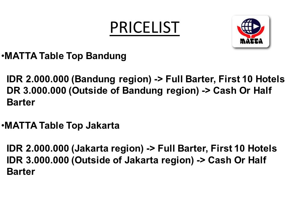 PRICELIST •MATTA Table Top Bandung