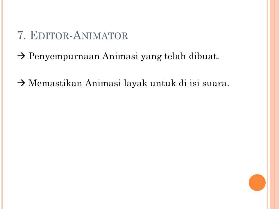 7. Editor-Animator  Penyempurnaan Animasi yang telah dibuat.