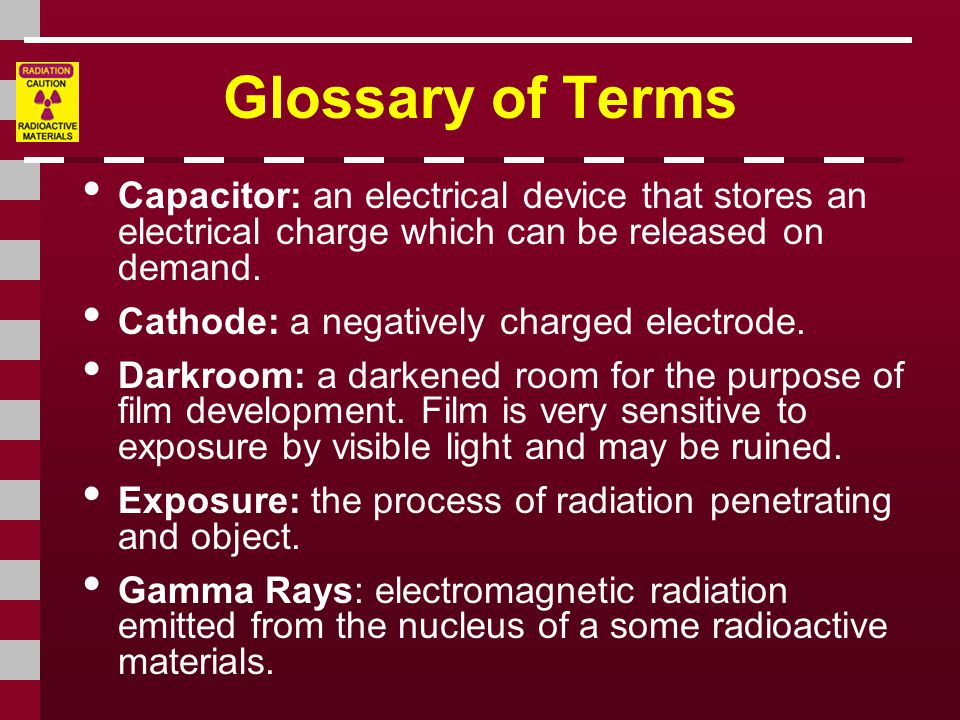 Glossary of Terms Capacitor: an electrical device that stores an electrical charge which can be released on demand.