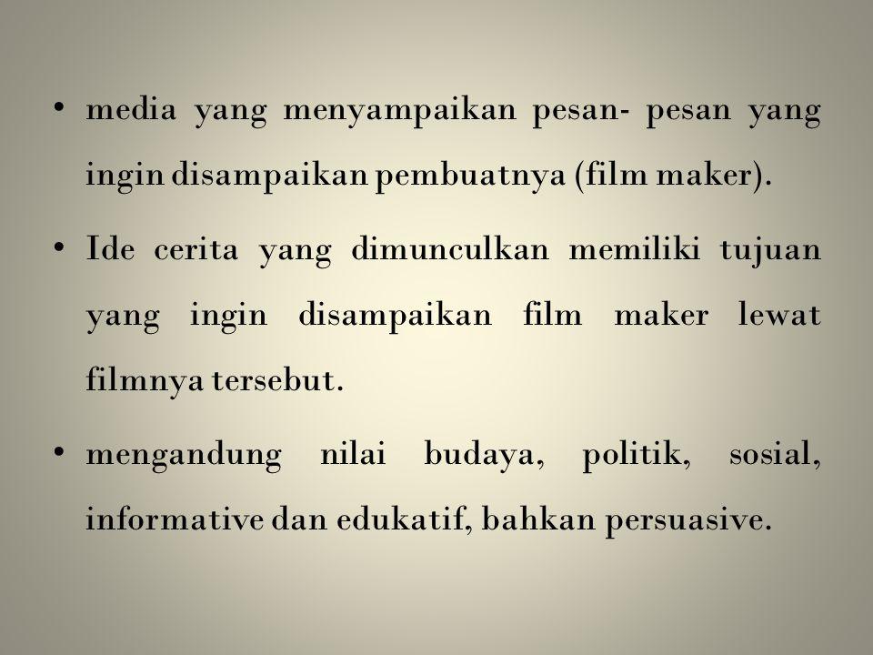 media yang menyampaikan pesan- pesan yang ingin disampaikan pembuatnya (film maker).