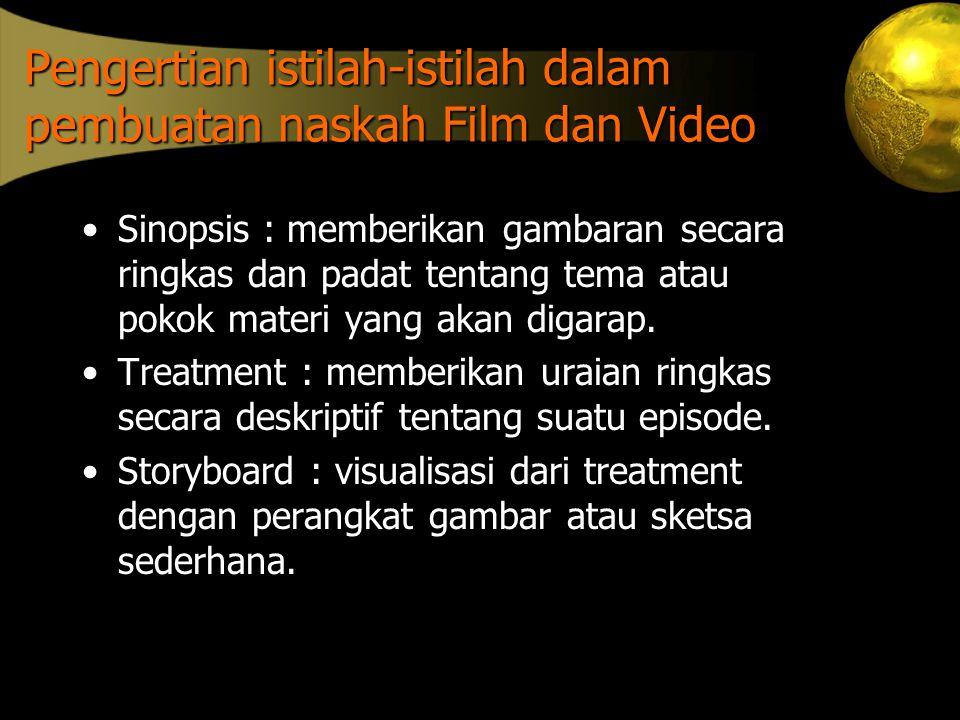 Pengertian istilah-istilah dalam pembuatan naskah Film dan Video
