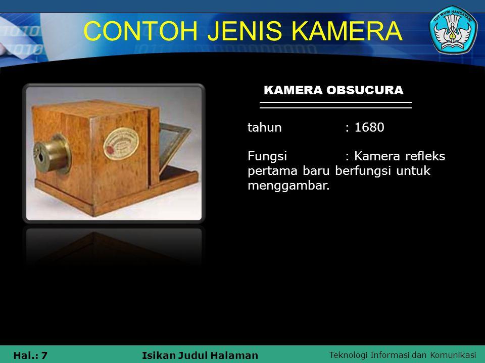CONTOH JENIS KAMERA KAMERA OBSUCURA tahun : 1680