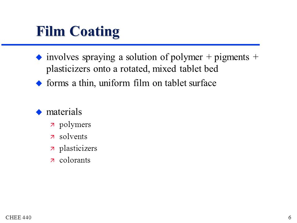 Film Coating involves spraying a solution of polymer + pigments + plasticizers onto a rotated, mixed tablet bed.