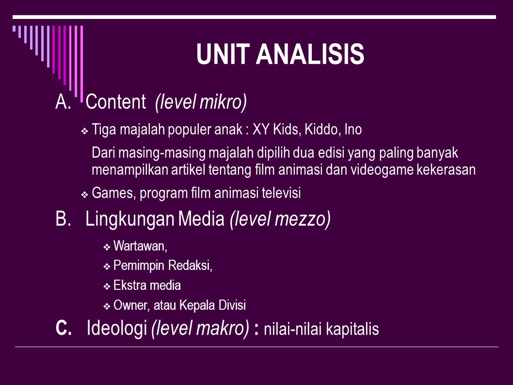 UNIT ANALISIS A. Content (level mikro)