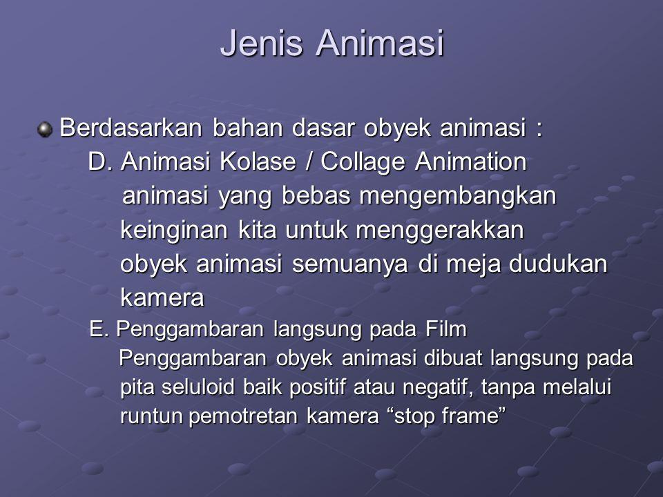 Jenis Animasi Berdasarkan bahan dasar obyek animasi :