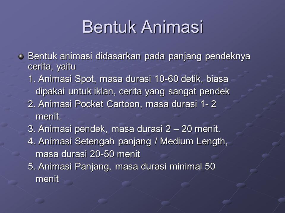 Bentuk Animasi Bentuk animasi didasarkan pada panjang pendeknya cerita, yaitu. 1. Animasi Spot, masa durasi 10-60 detik, biasa.