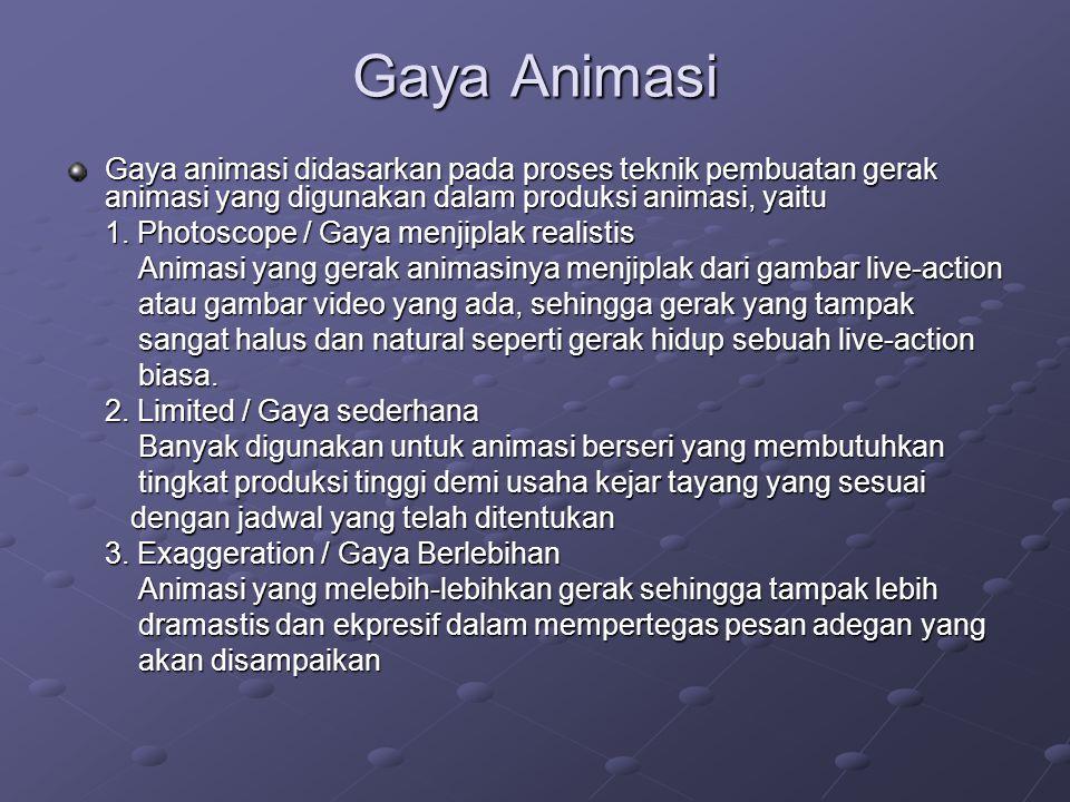 Gaya Animasi Gaya animasi didasarkan pada proses teknik pembuatan gerak animasi yang digunakan dalam produksi animasi, yaitu.