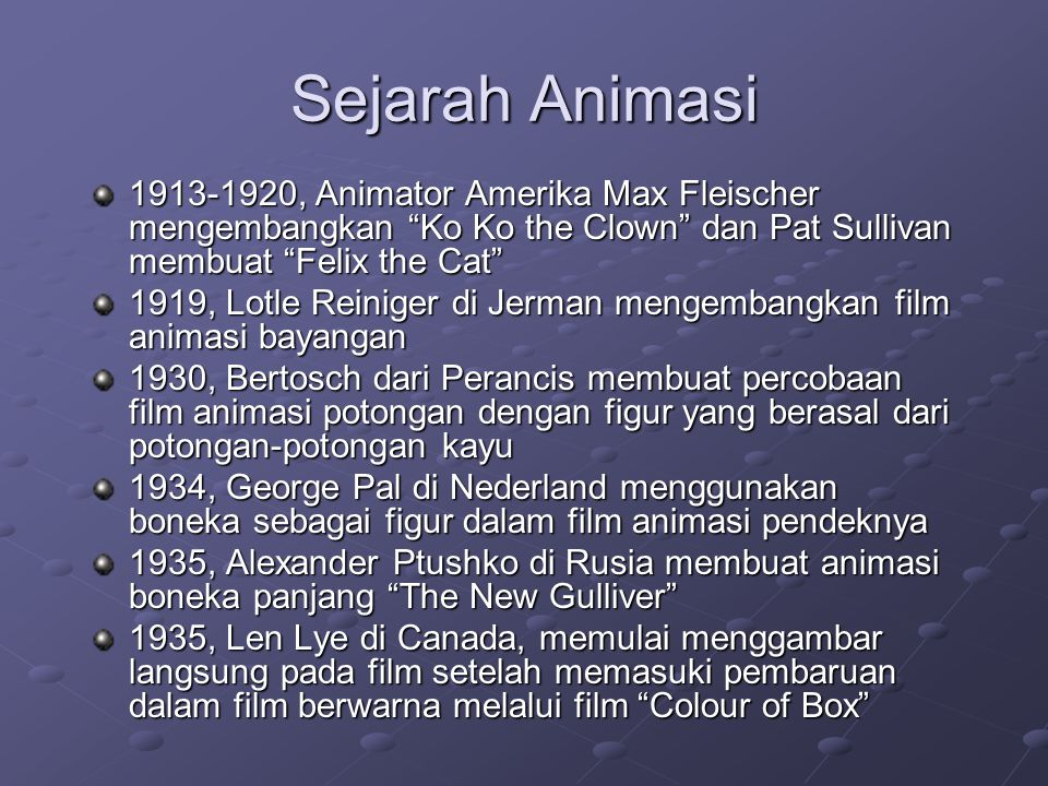 Sejarah Animasi , Animator Amerika Max Fleischer mengembangkan Ko Ko the Clown dan Pat Sullivan membuat Felix the Cat