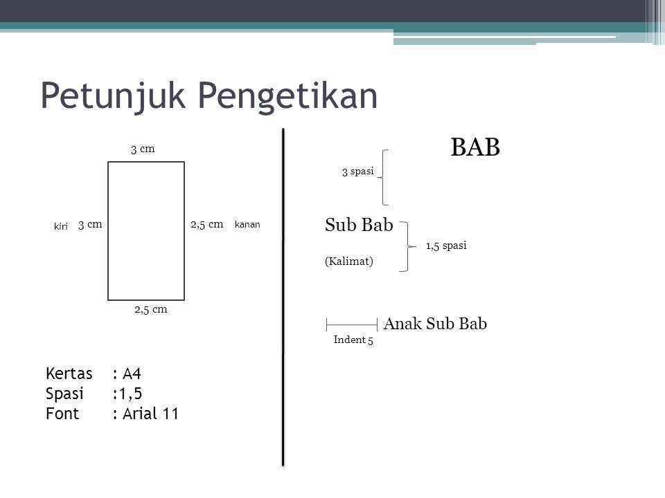 Petunjuk Pengetikan BAB Anak Sub Bab Sub Bab Kertas : A4 Spasi :1,5