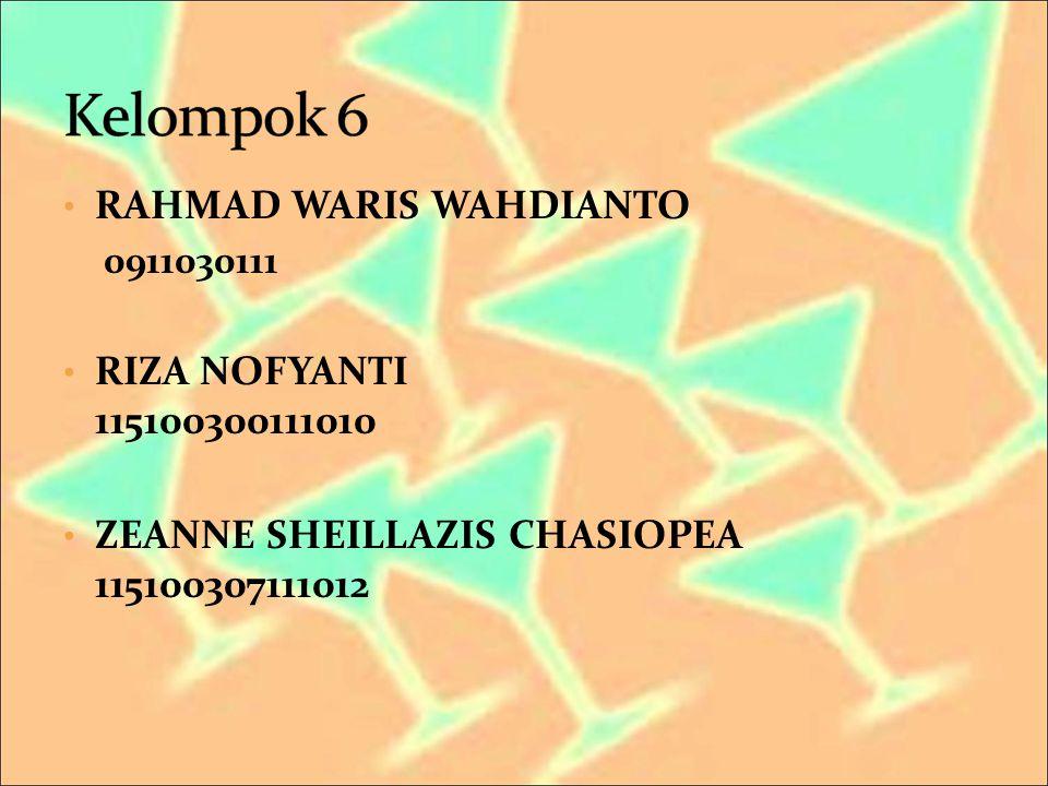 Kelompok 6 RAHMAD WARIS WAHDIANTO RIZA NOFYANTI 115100300111010