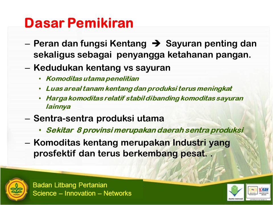 Dasar Pemikiran Peran dan fungsi Kentang  Sayuran penting dan sekaligus sebagai penyangga ketahanan pangan.