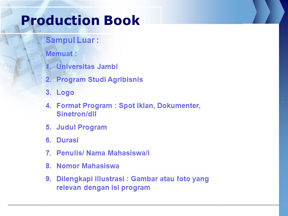 Production Book Sampul Luar : Memuat : Universitas Jambi