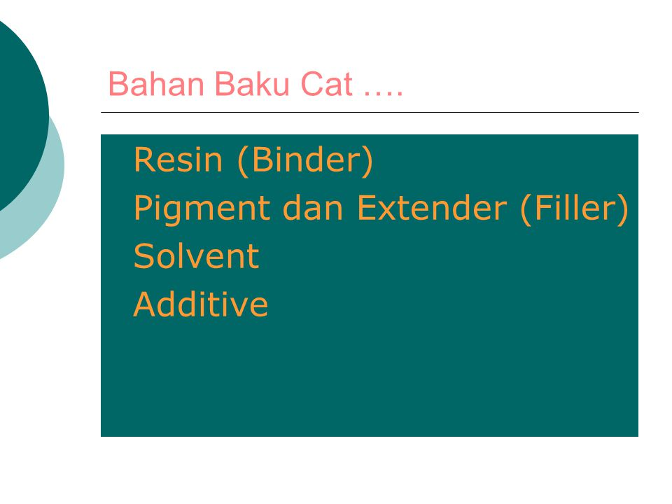 Bahan Baku Cat …. Resin (Binder) Pigment dan Extender (Filler) Solvent Additive