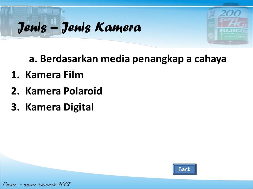 Jenis – Jenis Kamera a. Berdasarkan media penangkap a cahaya