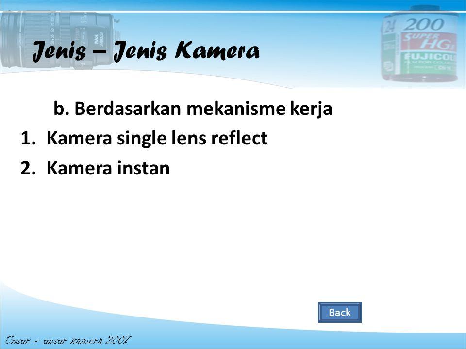 Jenis – Jenis Kamera b. Berdasarkan mekanisme kerja