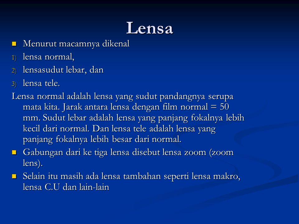 Lensa Menurut macamnya dikenal lensa normal, lensasudut lebar, dan