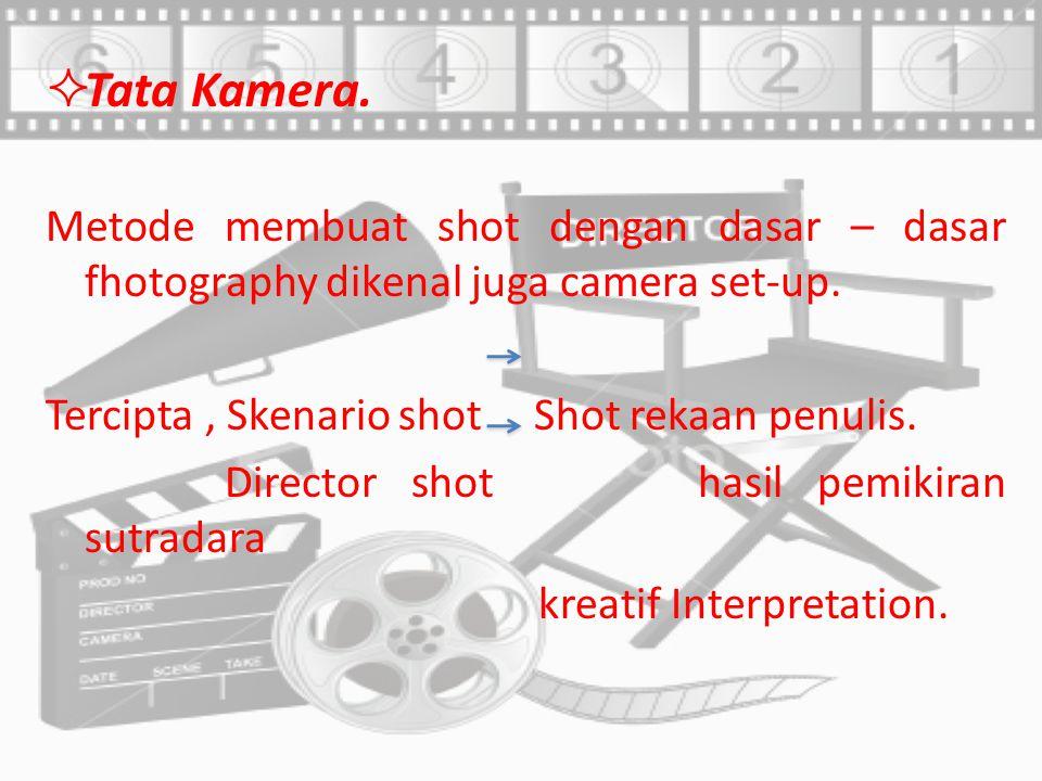 Tata Kamera. Metode membuat shot dengan dasar – dasar fhotography dikenal juga camera set-up. Tercipta , Skenario shot Shot rekaan penulis.