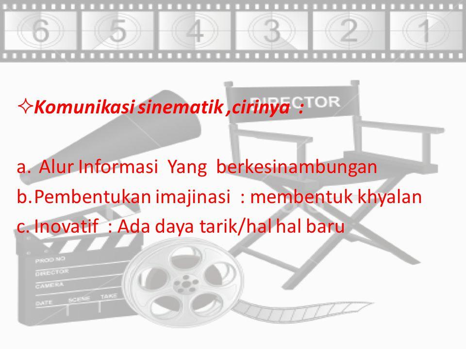 Komunikasi sinematik ,cirinya :