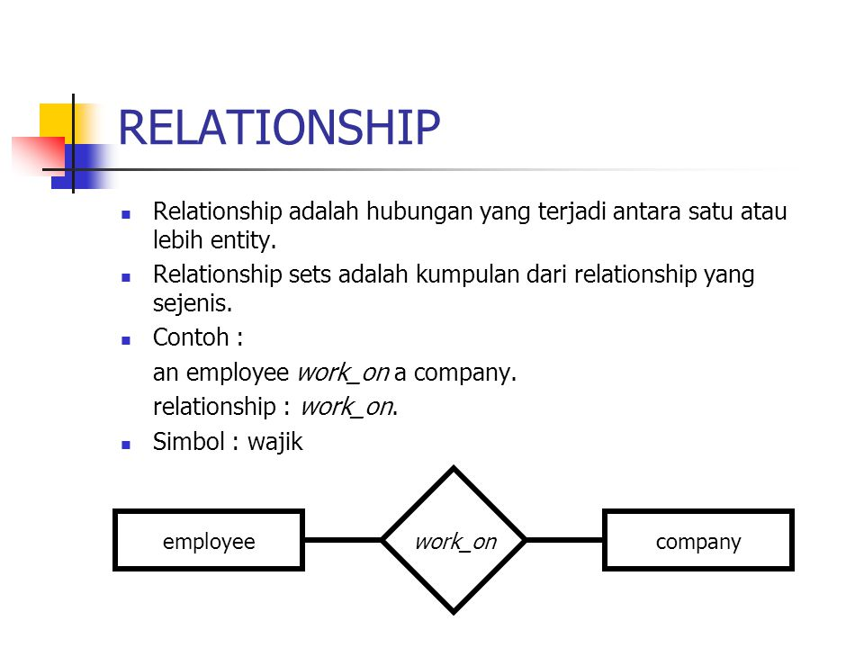 RELATIONSHIP Relationship adalah hubungan yang terjadi antara satu atau lebih entity.