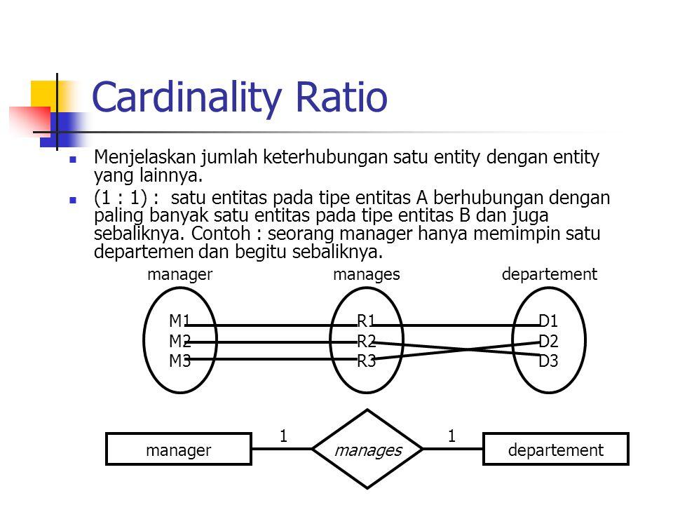 Cardinality Ratio Menjelaskan jumlah keterhubungan satu entity dengan entity yang lainnya.