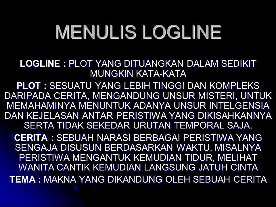 MENULIS LOGLINE LOGLINE : PLOT YANG DITUANGKAN DALAM SEDIKIT MUNGKIN KATA-KATA.
