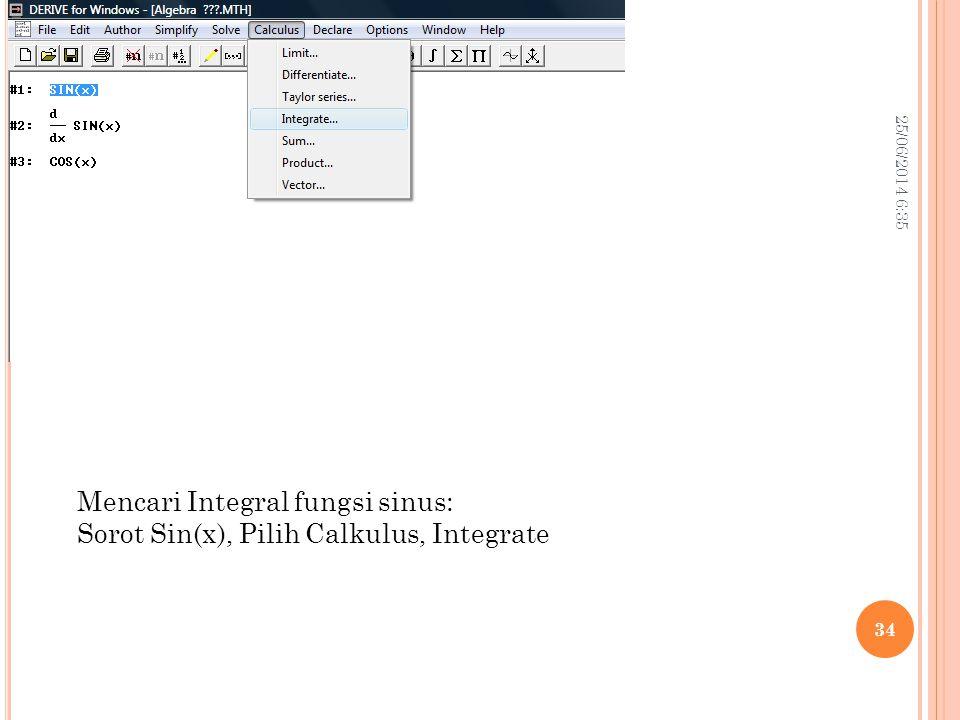 Mencari Integral fungsi sinus: Sorot Sin(x), Pilih Calkulus, Integrate