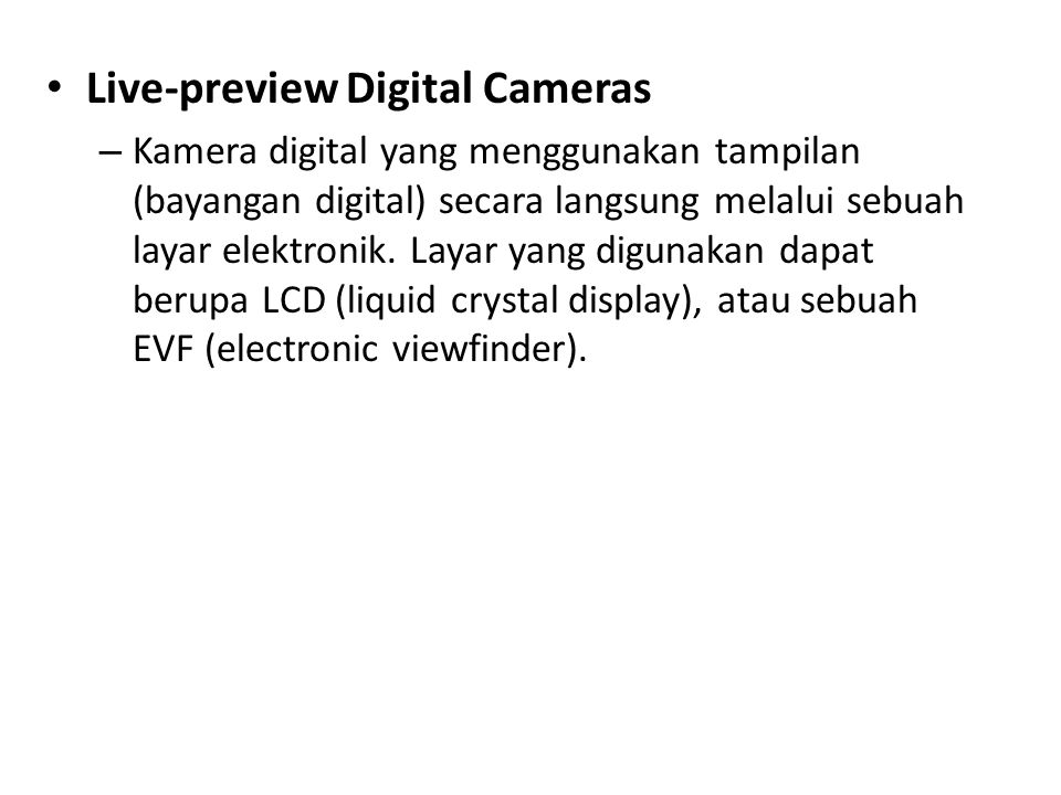 Live-preview Digital Cameras